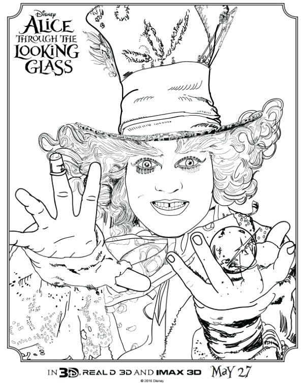 600x760 Tim Burton Coloring Pages Through The Looking Glass Printable