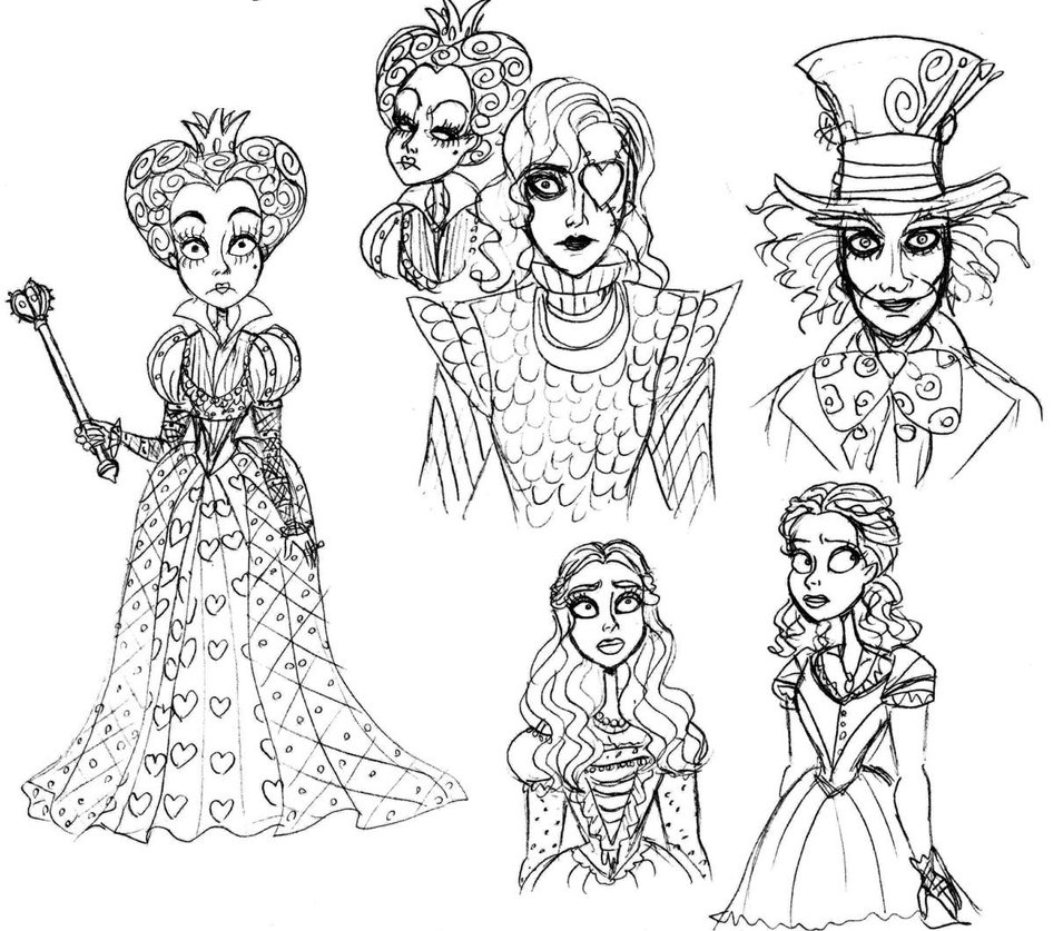 955x837 With Alice In Wonderland Coloring Pages Tim Burton