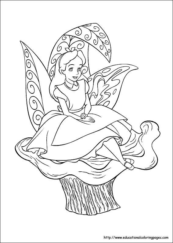 567x794 Alice In Wonderland Coloring Pages Free For Kids