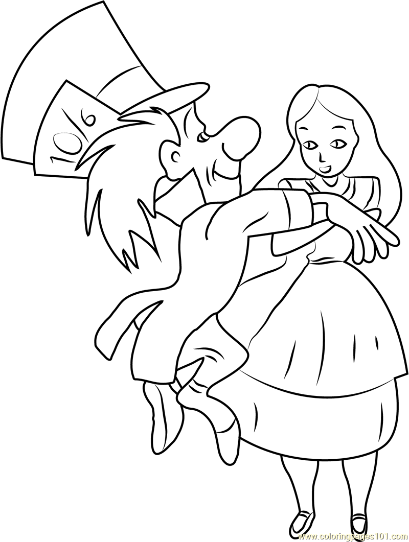 800x1061 Alice In Wonderland With Mad Hatter Coloring Page