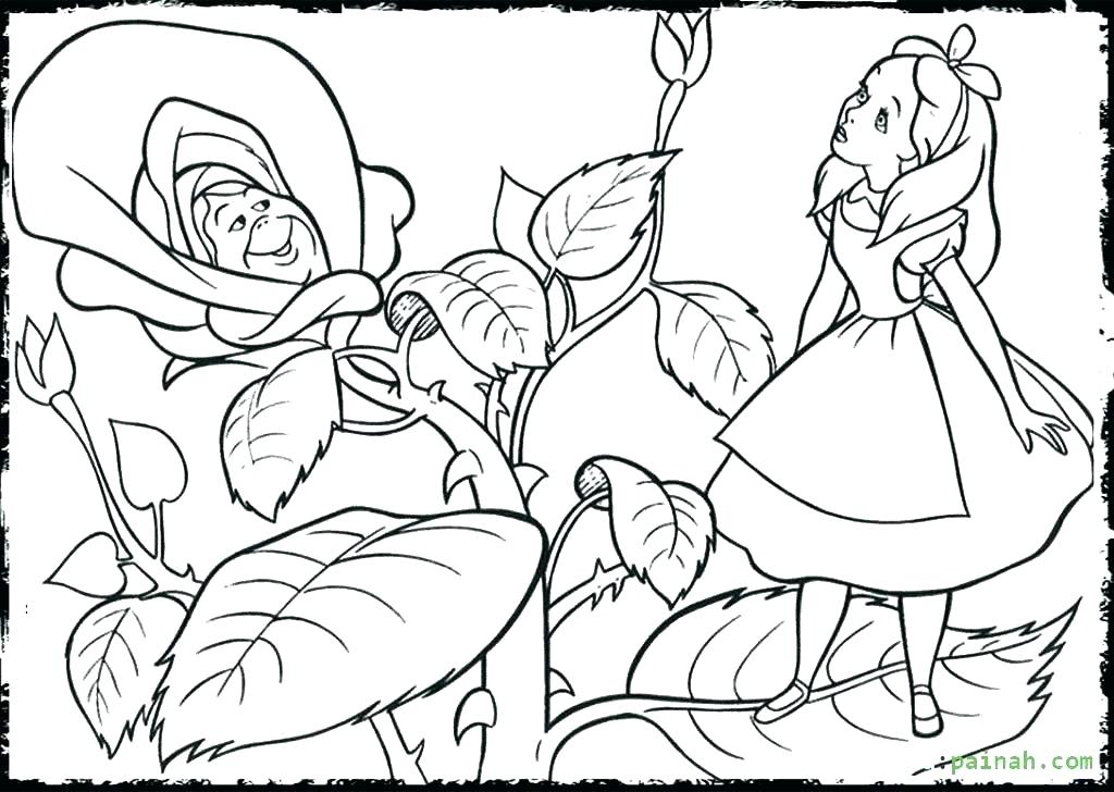 1024x728 Coloring Pages Alice In Wonderland Coloring Page Disney