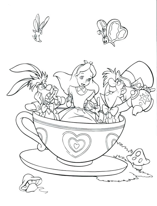 600x789 Disney Alice In Wonderland Coloring Pages In Wonderland Coloring