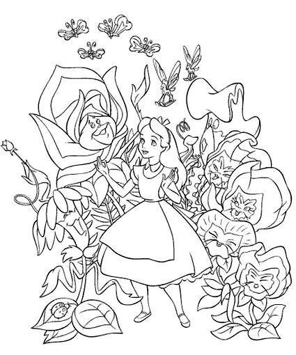 425x510 Alice In Wonderland Coloring Pages Mad Hatter Tea Party