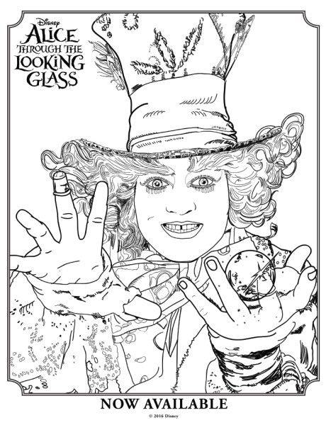 460x600 Alice Through The Looking Glass Mad Hatter Colouring Page Mad