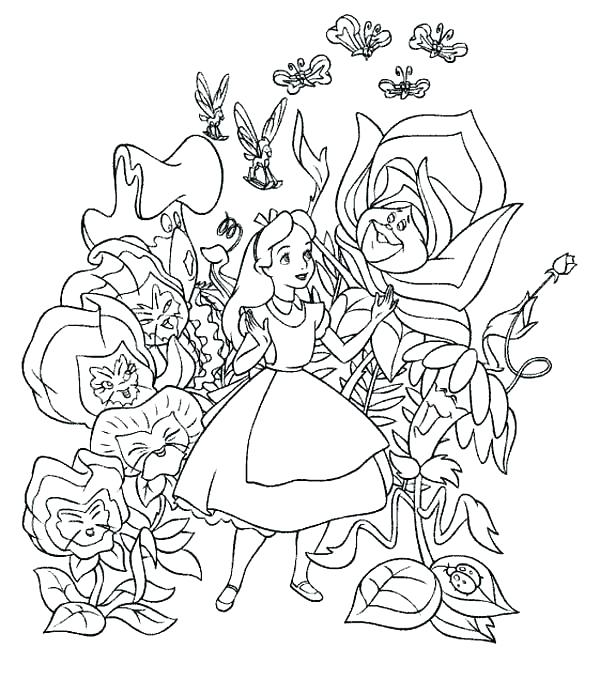 600x695 Alice Wonderland Coloring Pages In Wonderland Coloring Pages Alice