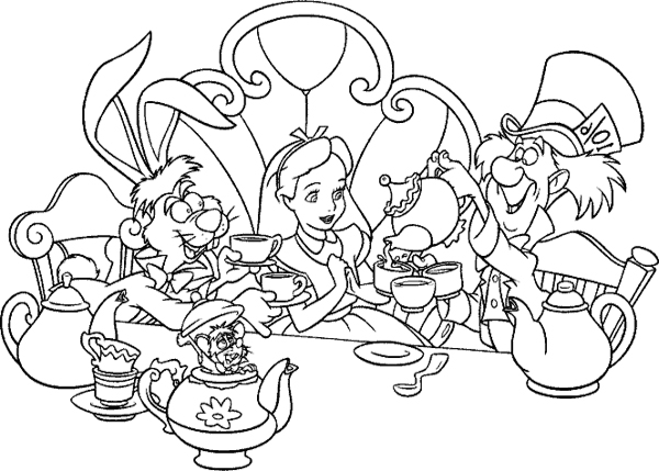 600x429 Alice In Wonderland Tea Party Coloring Pages,alice In Wonderland