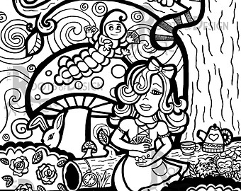 340x270 Alice Coloring Pages Etsy