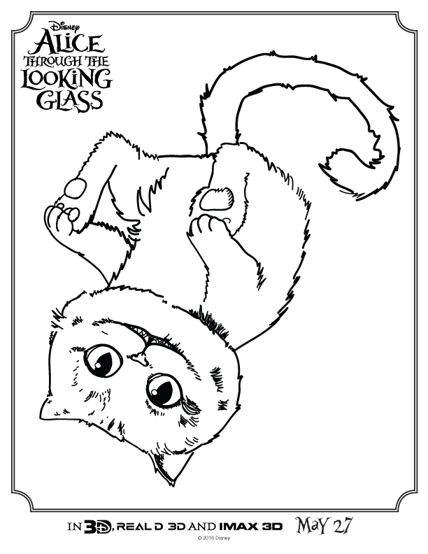 612x792 Alice Through The Looking Glass Cheshire Cat Coloring Page