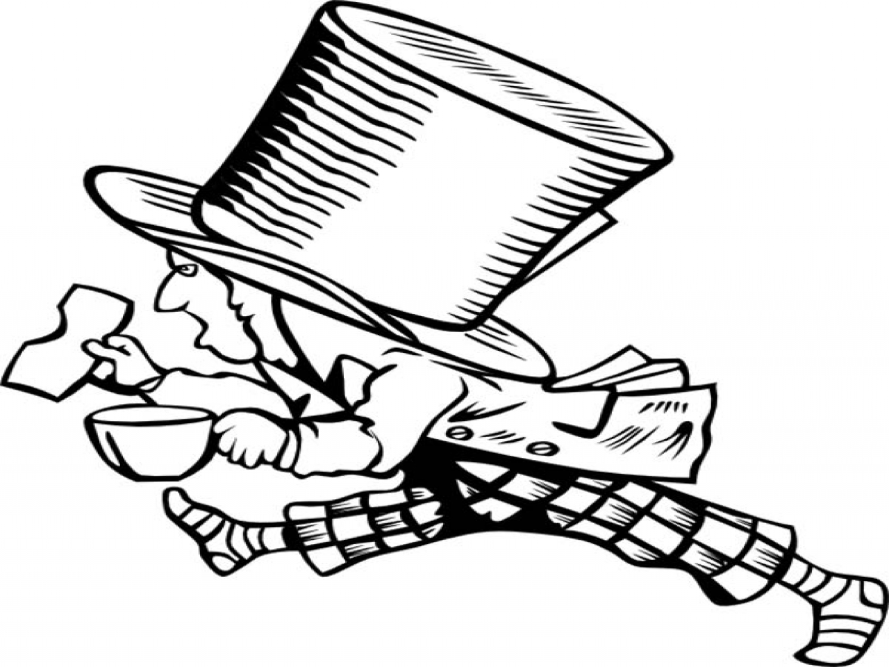 1280x960 Mad Hatter Coloring Sheet With Too Big Hat Page