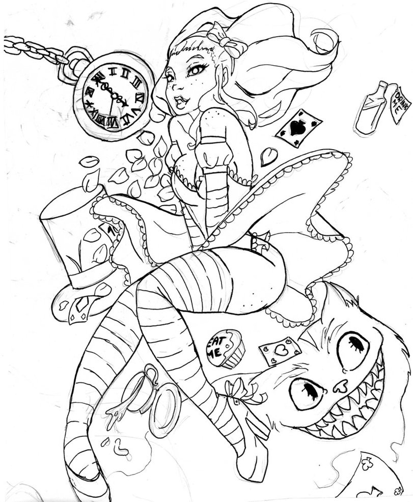 811x986 Trippy Caterpillar Alice Coloring Pages