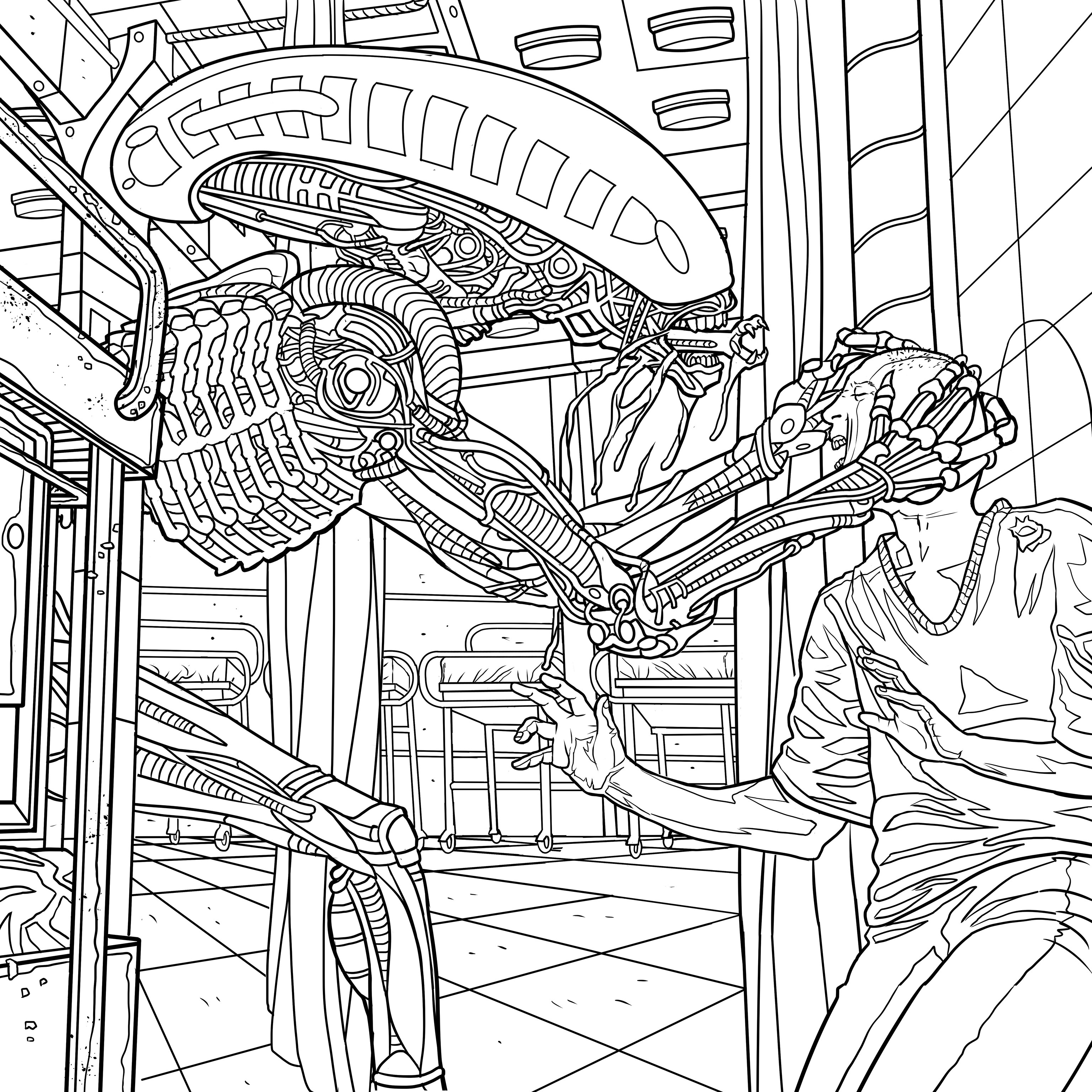 3071x3071 New Four Exclusive Alien Coloring Book Pages Bloody
