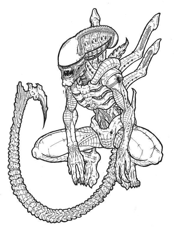 600x779 Alien And Predator Drawings