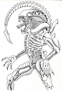 236x347 Alien Vs Predator Coloring Pages Alien Queen Drawing How To Draw