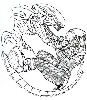 300x348 Alien Vs Predator Coloring Pages Vs
