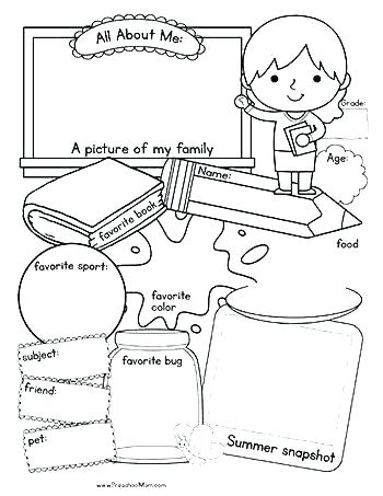 image regarding All About Me Preschool Printable named All Over Me Coloring Web pages For Preschoolers at GetDrawings