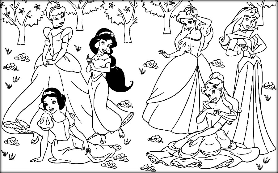 900x559 Disney Princesses Colouring Pages Coloring Pages