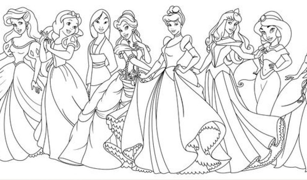 1024x600 All Disney Princess Coloring Pages Coloring Pages With All