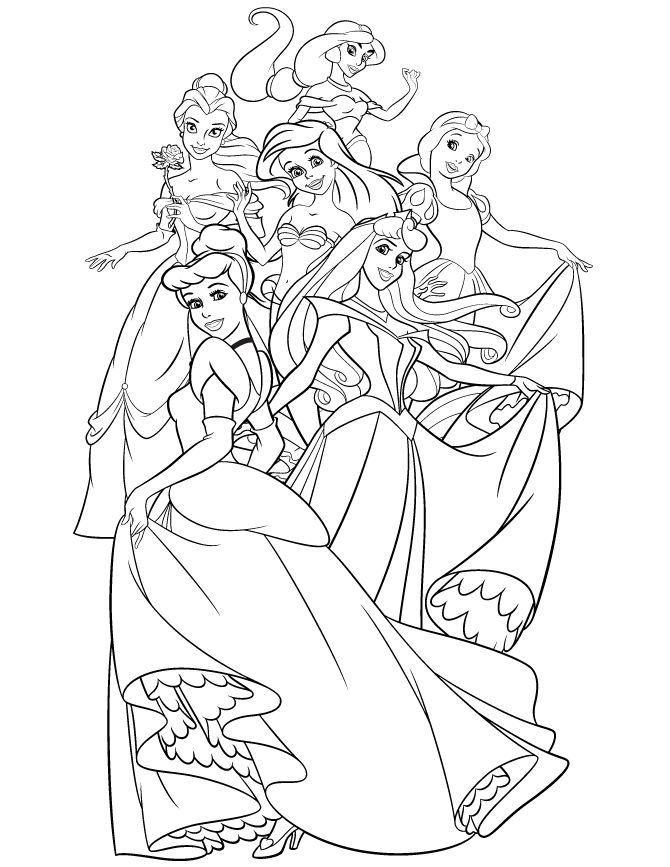 670x867 All Disney Princess Coloring Pages Color Bros