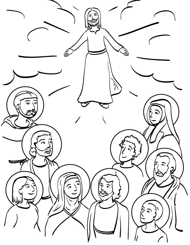 773x1000 Communion Of Saints Coloring Page Austin Catholic New Media
