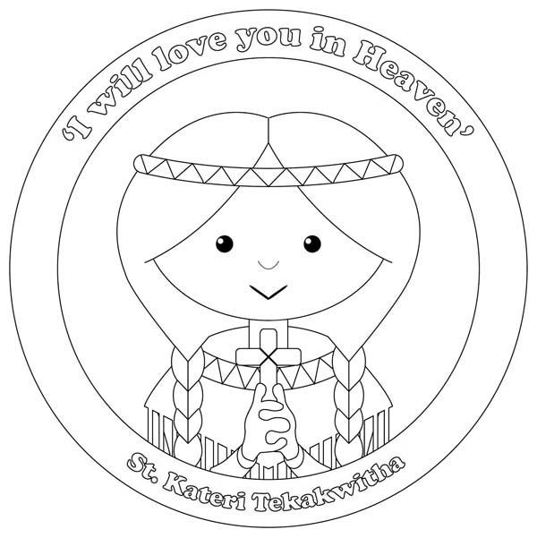 600x601 St Kateri Tekakwitha All Saints Day Coloring Page