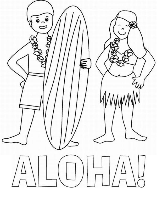 600x753 Aloha Is Hawaiian Greet Coloring Page