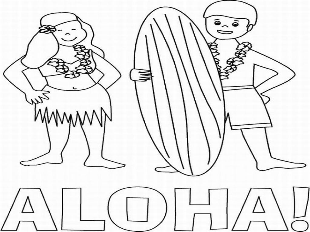 1024x768 Hawaii Coloring Pages Aloha