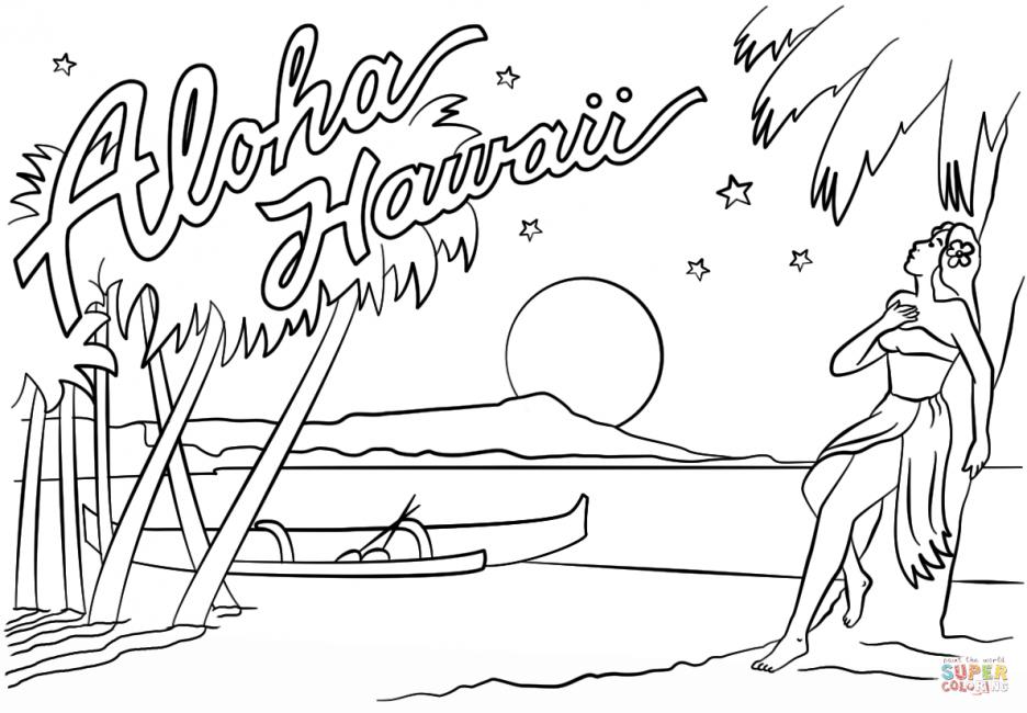 936x650 Aloha Hawaii Coloring Page Printable Pages Aloha Page Adult
