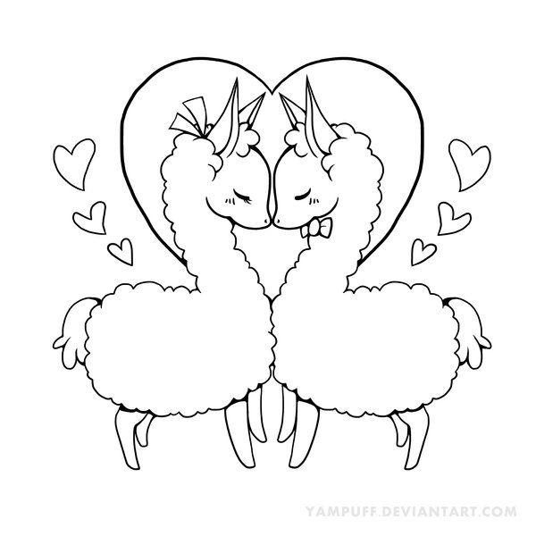 600x600 Love Llama Lineart