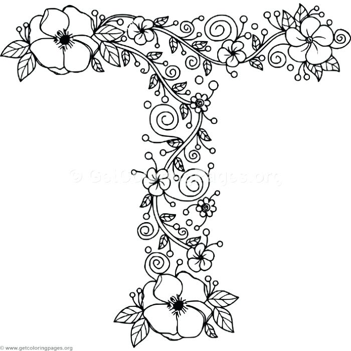 700x700 Also Floral Alphabet Letter T Coloring Pages Letter Coloring Pages