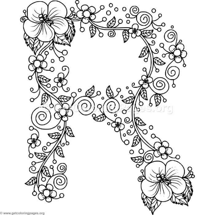 700x700 Download It Free Floral Alphabet Letter R Coloring Pages