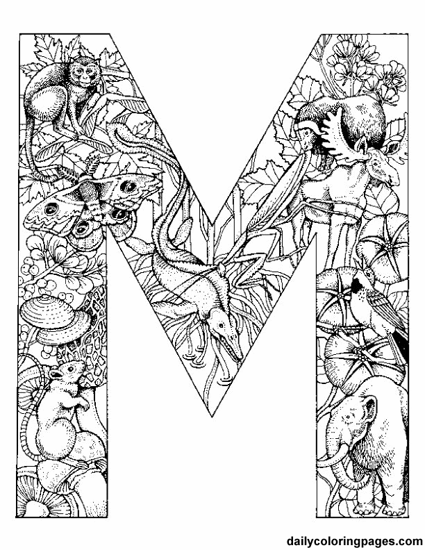 612x792 Free Printable Colouring Initials Each Initial Is Filled