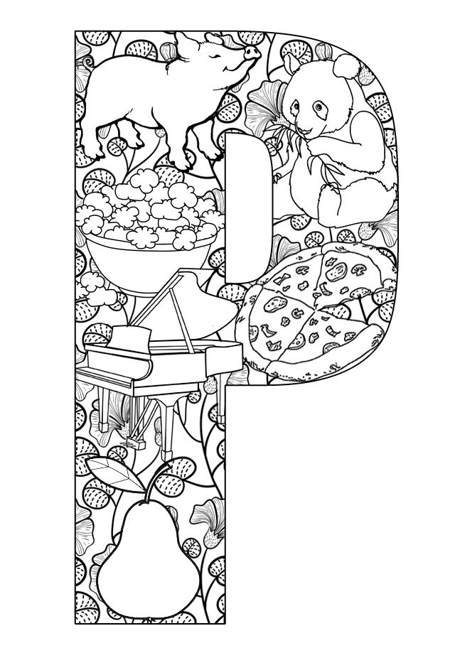640x912 Free Printable Easy Adult Coloring Pages Alphabets Download