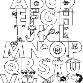 268x268 Alphabet Coloring Pages Whole Alphabet Coloring Page In Alphabet