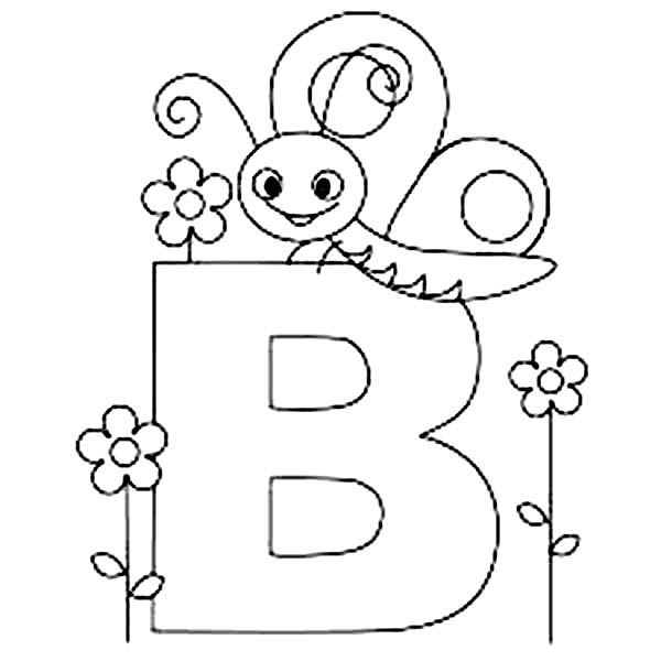 600x600 Alphabet With Animals Coloring Pages B Is For Butterfly Batch