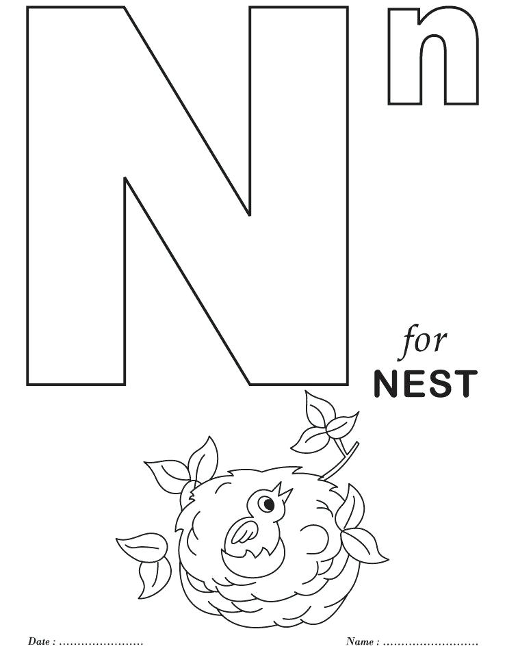 738x954 Alphabet Coloring Pages Preschool N Sheets On Bubble Letter