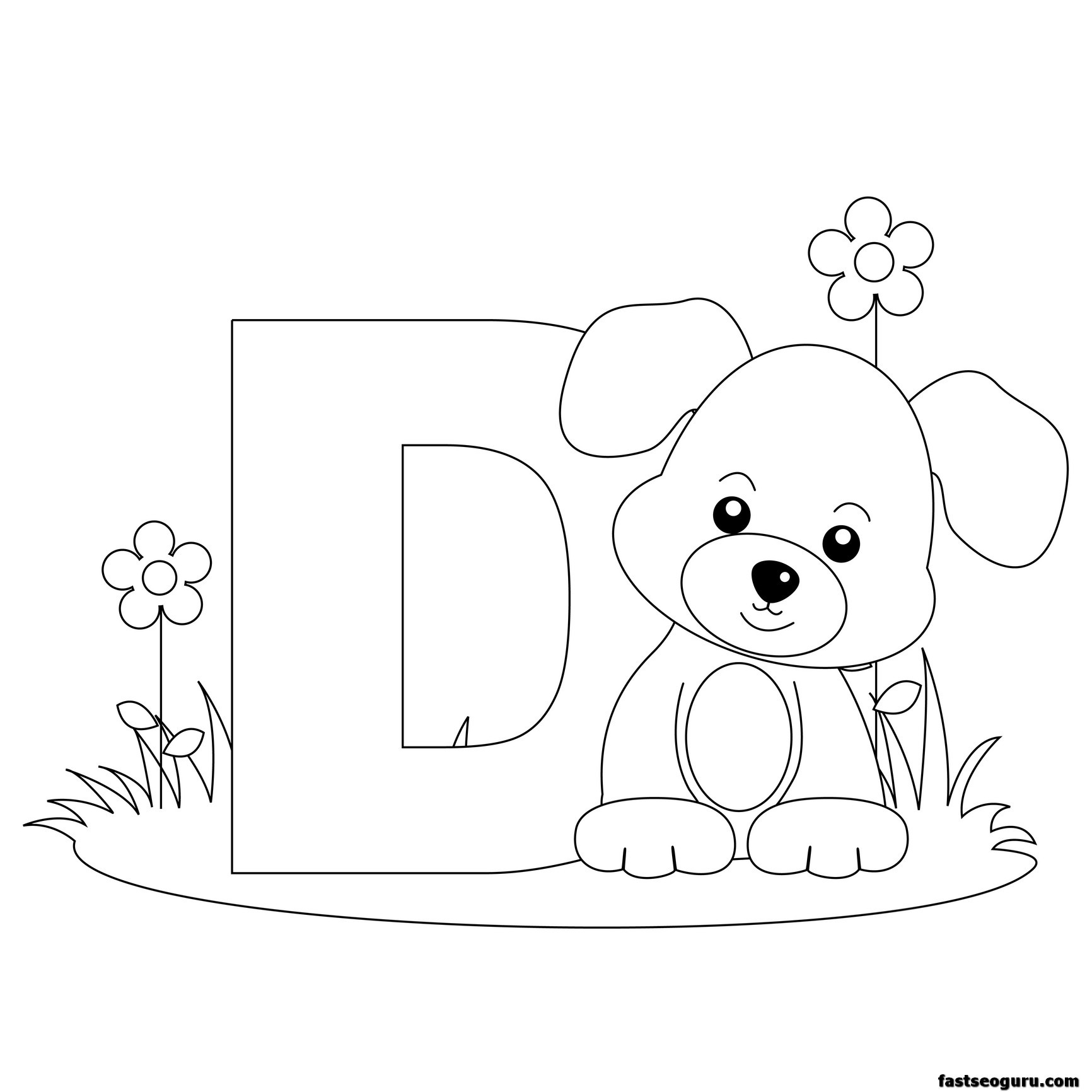 1732x1732 Animal Alphabet Coloring Pages Printable Worksheets Letter D