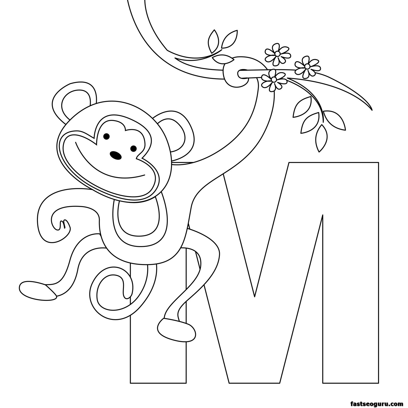 1732x1732 Printable Animal Alphabet Worksheets Letter M For Monkey English