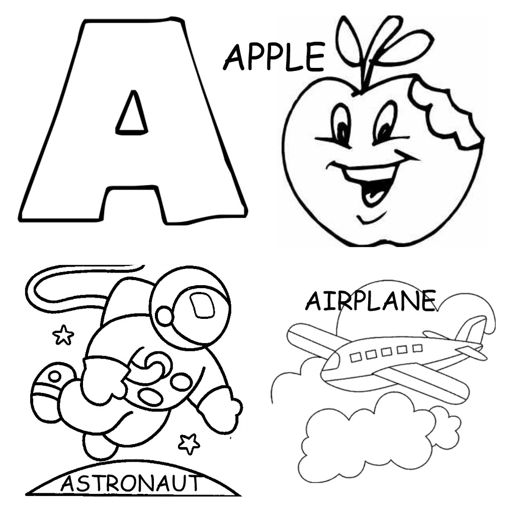 1024x1018 Letter A Coloring Pages For Toddlers Alphabet Printable Apple