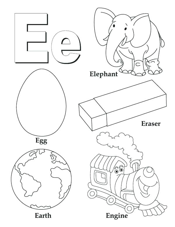 600x776 Alphabet Letter Coloring Pages Letter E Coloring Pages Preschool