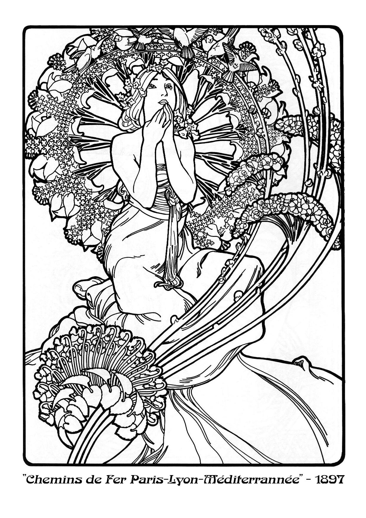 1240x1754 Alphonse Mucha Coloring Pages Alphonse Mucha, Line Art