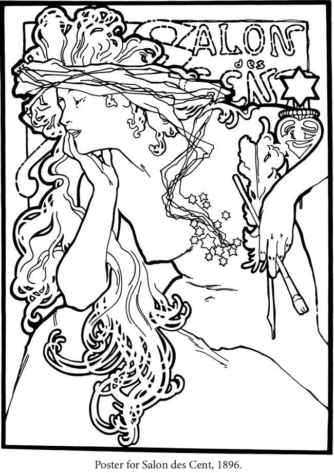 650x921 Creative Haven Art Nouveau Designs Coloring Book