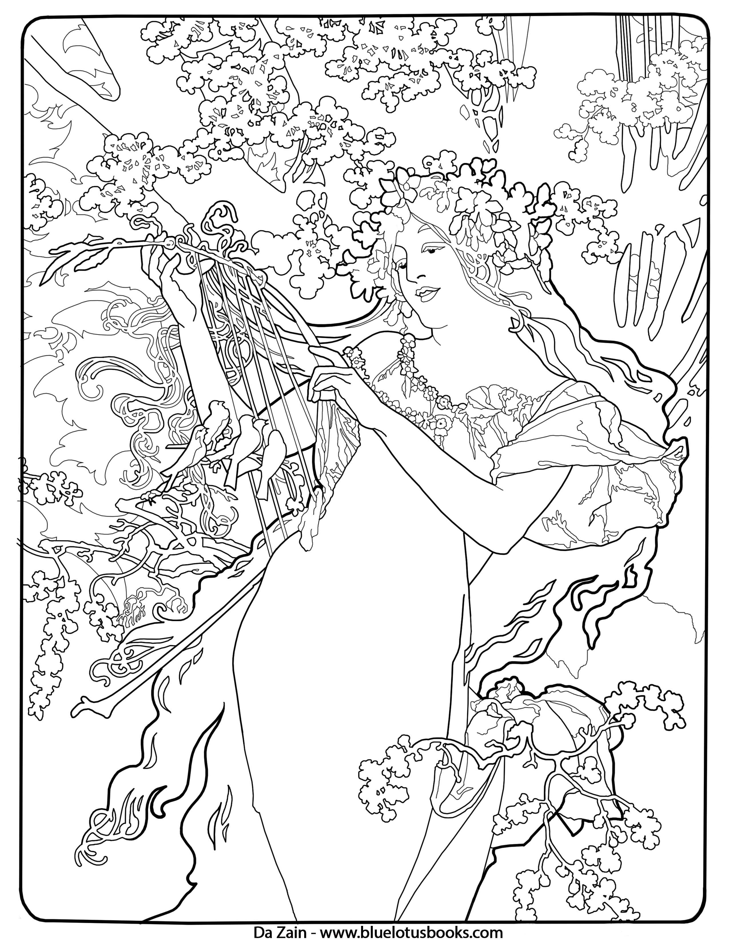 2550x3300 Alfons Mucha Art Nouveau Free Adult Coloring Pages Adult
