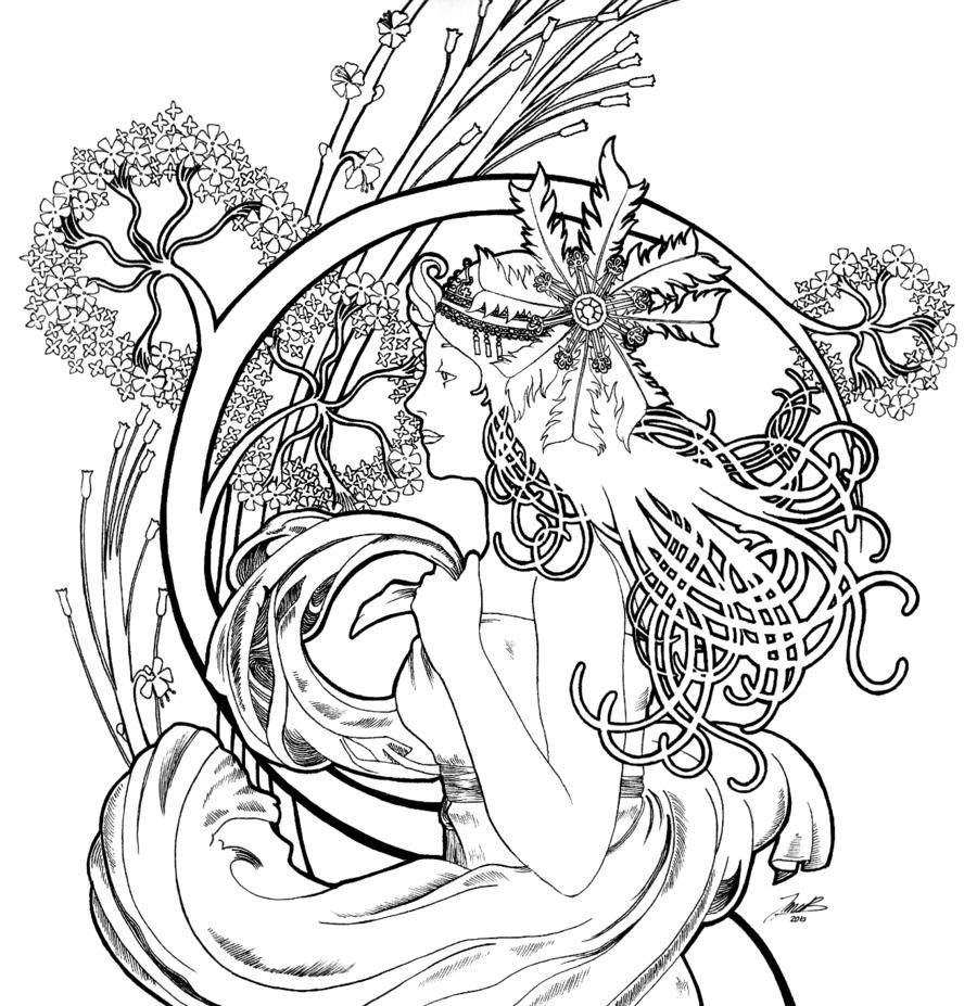 900x927 Alphonse Mucha Coloring Pages Alphonse Mucha Line Art Drawing