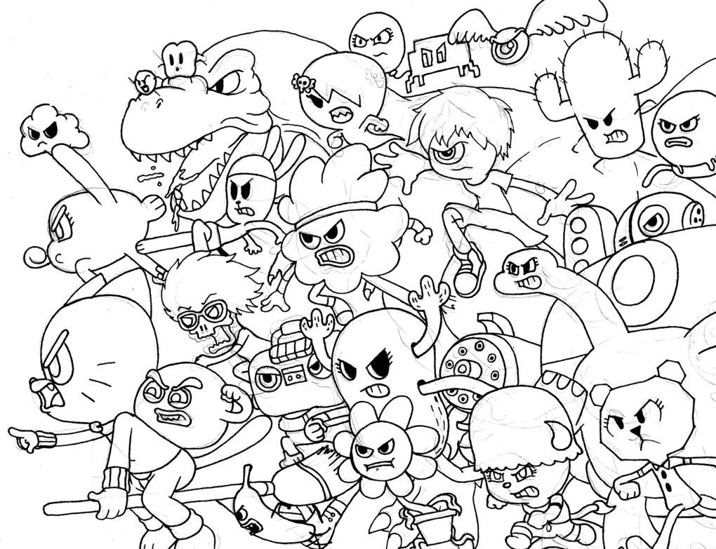 1020x783 All Characters From Amazing World Of Gumball Coloring Pages Food
