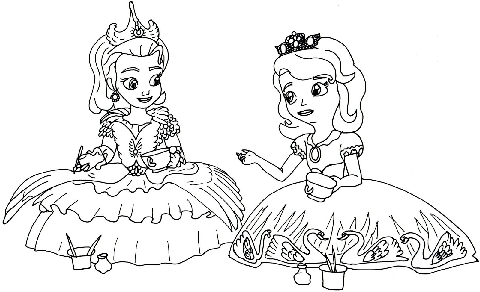 1600x975 Sofia The First Coloring Pages Tea For Too Many