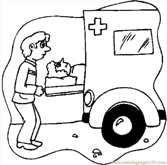 650x643 Cartoon Amblance Driver Coloring Pages Ambulance Driver Vbs