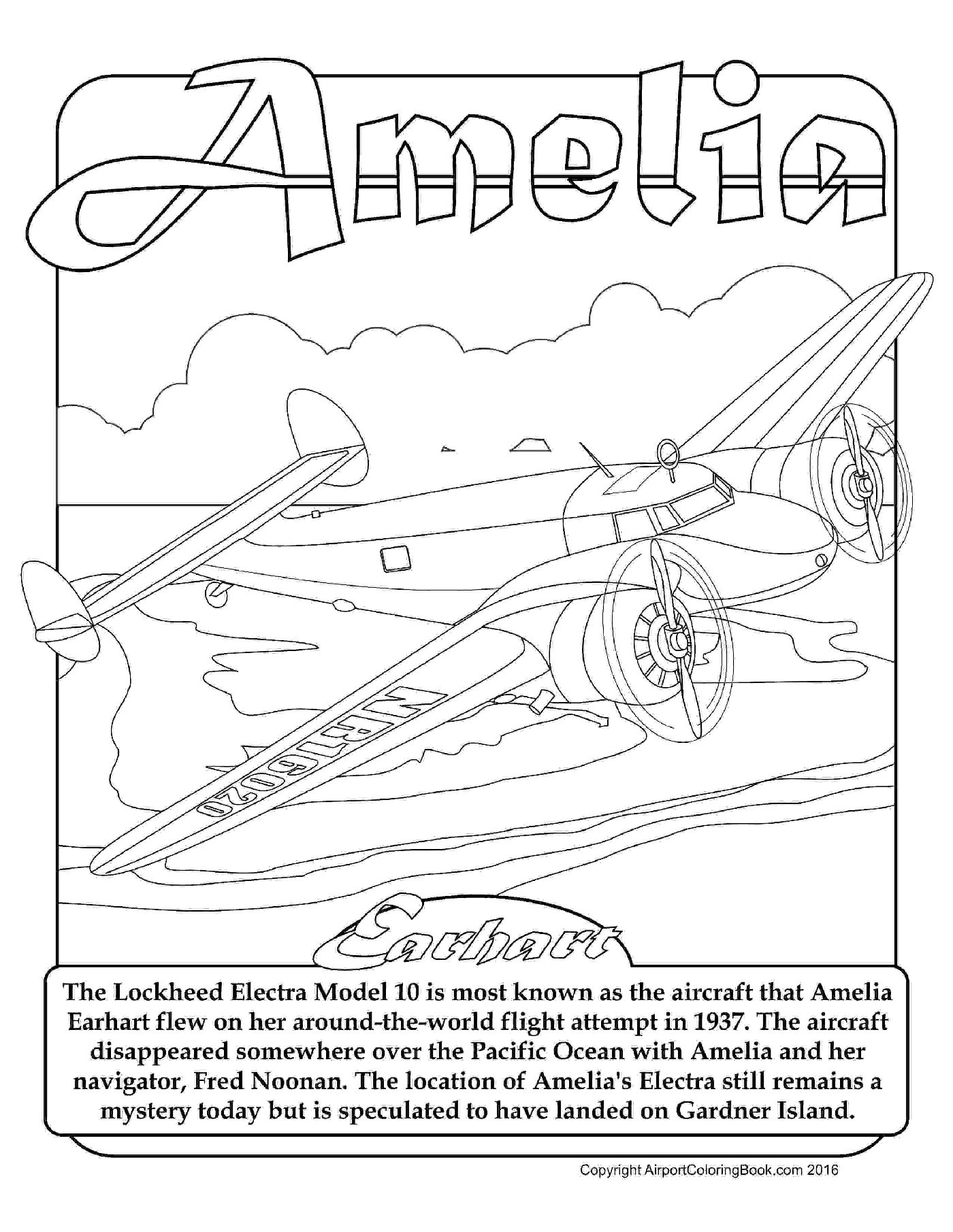 1400x1811 Airport Coloring Book Amelia Earhart Lockhead Electra For Coloring