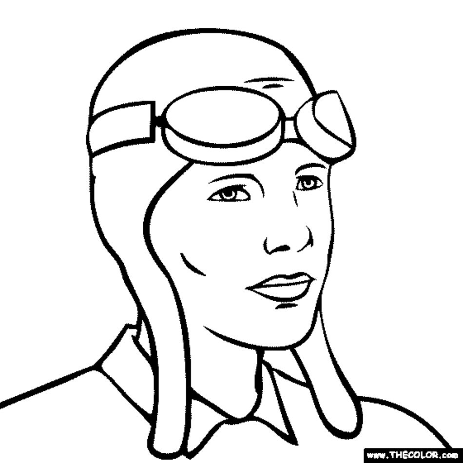 950x950 Amelia Earhart Coloring Pages Free Image