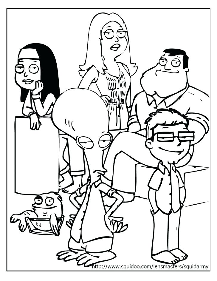 728x942 American Dad Coloring Pages Dad Coloring Pages Squid Army Family