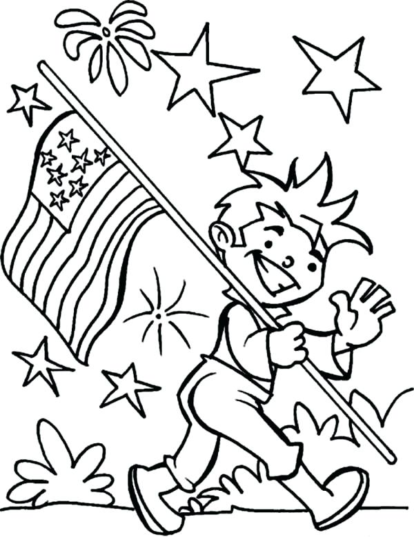 600x779 American Flag Coloring Page Carrying Flag On Independence Day